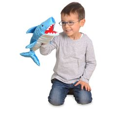 This Shark has a mouthful of great, big, white teeth! Hand Puppets, White Teeth, Shark, Dinosaur Stuffed Animal, How To Memorize Things, Hands, Toys, Animals, Boutique