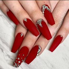 Red Matte Nails, Red Acrylic Nails, Red And Silver Nails, Red Glitter Nails, Red Stiletto Nails, Chrome Nails, Yellow Nails, November Nails, 25 November