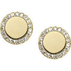 Fossil Heritage Studs Earring ($38) ❤ liked on Polyvore featuring jewelry, earrings, fashion accessories, metalic, studded jewelry, gold tone earrings, round earrings, fossil jewelry and steel earrings