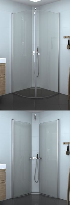 Dansani Match enclosure with two curved shower doors. The doors open both in and out freeing up valuable space when n ot in use. Small Shower Remodel, Small Showers, Shower Room, Tiny Bathrooms, Shower Doors, Small Bathroom, Bathroom Renovations, Cheap Bathroom Remodel, Bathroom Design