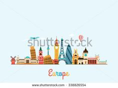 Europe skyline. Travel and tourism background. Vector flat illustration