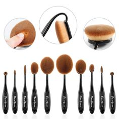 Sunyear Super Soft Professional 10pcs Oval Makeup Foundation Brushes, Contour Cream Powder Blush Eyebrow Toothbrush Cosmetics Tool Set -- Tried it! Love it! Click the image. : Makeup bag