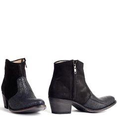 Sendra laarsjes Sara Reptilus Ocean 10393. Black BootiesBlack Ankle Boots