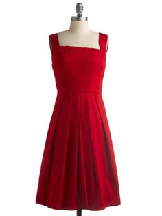The Family Get-Together - Tired of Grandma's comments about your too-short-hem and your too-low-neckline? Wear a bright red knee-grazing A-line dress to the family Christmas dinner, and she'll be speechless with delight. Cherry Me Up Dress.