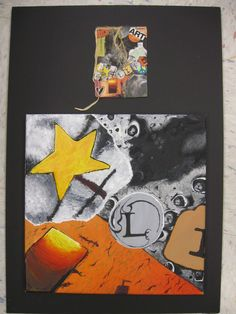Enlarging collage with view finder...I remember doing this myself in 7th grade!