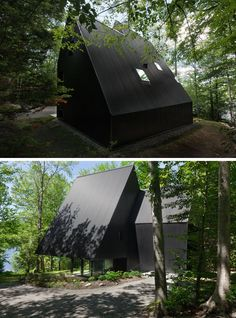 This black cottage with a sloping roof line is surrounded by a Hemlock forest in Quebec, Canada.