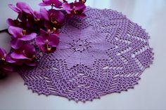 Violet doily Crochet doily Round crochet doily by CrochetbyMariana ♡