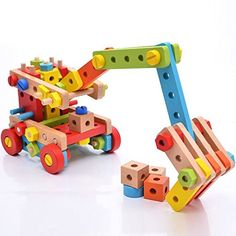 Augenblick 138 Parts Big Size 3D DIY Nut Wooden Early Building Assembly and Disentanglement Block Puzzle Toy * For more information, visit image link.