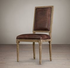 $359 Vintage French Square Leather Side Chair