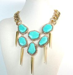 Aqua abstract turquoise gold spikes statement necklace