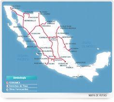 Rutas de vías de tren en México