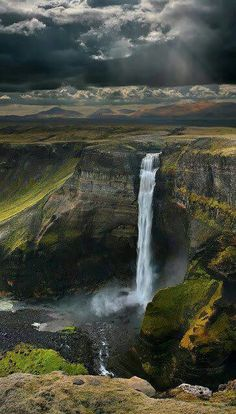 Haifoss Waterfall,  Iceland in July