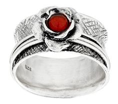 Or Paz Sterling Fire Opal Flower Spinner Ring