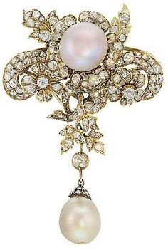 Pearl And Diamond Brooch Set In Gold