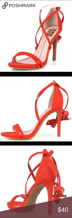 ORANGE FAUX SUEDE OPEN TOE DUAL STRAP LACE ANKLE Pre-order this 💐🌟🌹🌞🎈HOST PIC OF Style Statement Party💐🌟🌹🌞🎈ORANGE FAUX SUEDE OPEN TOE DUAL STRAP LACE UP ANKLE HEEL.                       Strap these fabulous heels on your feet for your next #GNO!  Features an open toe and a stiletto heel silhouette.  Dual toe straps with crisscrossing straps over the vamp.  Adjustable lace up ankle strap closure for added comfort.  Man made materials.  Approximate heel height 4 1/2 inches…