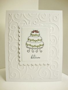 "Wedding Card, embossed background - change ""bliss"" to read invitation and this would make a really nice wedding invite"