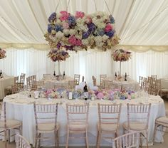 Planet Flowers: Private Marquee / Top table / Flower hanging / Flower Installation / Hydrangea