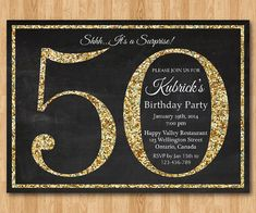 50th birthday invitation. Gold Glitter Birthday Party invite.