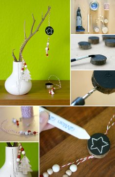 wood, xmas, chalkboard paint, DIY, dekoration, chalk