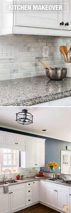 It doesn't take a complete remodel to transform the look of your kitchen. Refacing your cabinets and replacing the backsplash and countertops can be done with less expense and in less time. Our cabinet refacing consultants will walk you through all of yo Kitchen Refacing, Kitchen Redo, Kitchen Countertops, New Kitchen, Kitchen Ideas, Kitchen Tile, Country Kitchen, Backsplashes With White Cabinets, Home Depot Countertops