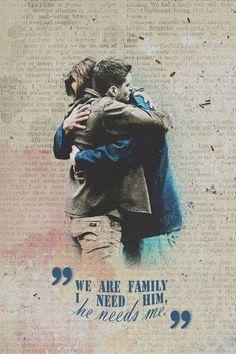 "Supernatural: SPN ""We are family I need him, he needs me. Supernatural Destiel, Supernatural Series, Supernatural Wallpaper, Castiel, Archangels Supernatural, Supernatural Background, Supernatural Symbols, Supernatural Poster, Supernatural Bloopers"