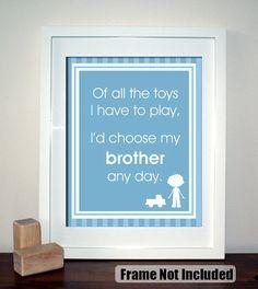 Choose My Brother Any Day, Playroom Wall Art, Children Decor, Nursery Wall Art, Childrens Room Decor, 8x10 on Etsy, $20.00 child room, art quotes, nursery wall art, nursery walls, art prints, playroom, nurseri, children, sail boat