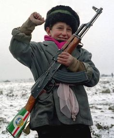 Young Chechen boy during the first war in Chechnya, which was fought by the Chechen rebels to gain independence from Russia. (1994-1996).