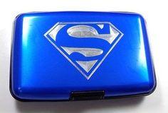 Superman BLUE Business Waterproof Credit Wallet Card RFID Case Holder EBI-0001