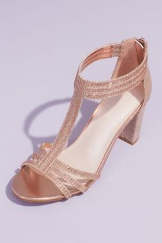 Add extra dazzle to any occasion look in these eye-catching metallic block heel sandals. Crystal embellishment along the ankle and toe straps complete the look. Bridal Wedding Shoes, Wedding Shoes Heels, Wedding Attire, Rose Gold Block Heels, Rose Gold Gown, Homecoming Shoes, Black Pumpkin, Bridesmaid Shoes, Glitter Shoes