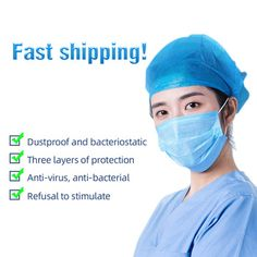 100 pcs face mask Disposable face masks Safely mask Apply to dust adult filter masque mouth - Swedish Health Club Flu Mask, Mouth Mask, Health Club, How To Apply, Blue And White, Makeup, Face, July 10, Shop