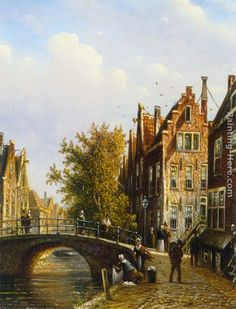 This Johannes Franciscus Spohler A Dutch town with figures on a canal painting is oil on canvas. Description from bestartpainting.com. I searched for this on bing.com/images