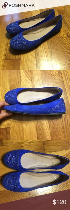 Vince camuto flats blue suede VP-EVION Worn once, one of the jewels is off from feet rubbing together (see picture) beautiful in new condition shoes Vince Camuto Shoes Flats & Loafers