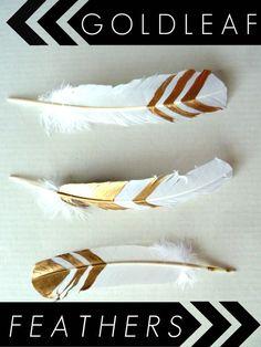 DIY-gold-leaf-feathers - So pretty for modern home decor