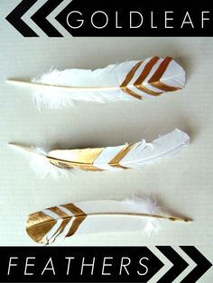 DIY-gold-leaf-feathers - So pretty for modern home decor