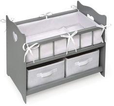 Badger Basket Gray Doll Crib & Baskets Set