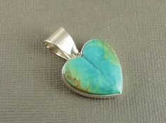 Sterling Silver Kingman Turquoise Heart Pendant by Lena Platero, Navajo for $135.00 | Native American Jewelry
