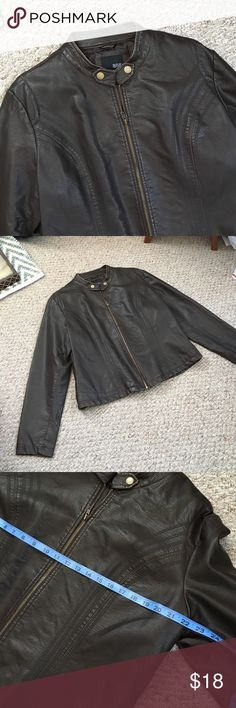 Ana leather-like Jacket NWOT dark brown with muted gold accents. Warm. No signs of wear. Not real leather, synthetic. a.n.a Jackets & Coats