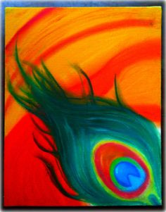 Original Oil  Pastel  Abstract Feather by JMZim on Etsy, $37.99