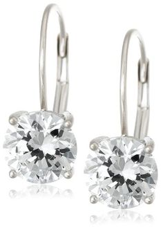 Platinum Plated Sterling Silver Round-Cut Cubic Zirconia Lever Back Earrings, $18, discount 65%!!