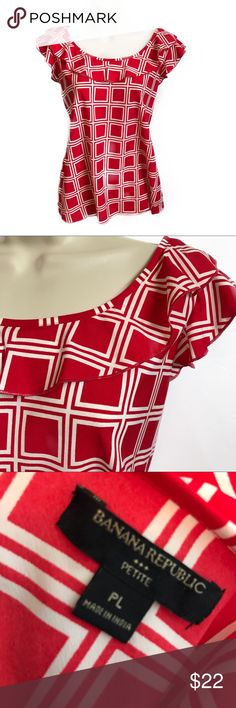 Gorgeous Banana Republic flowy ruffle top LP Gorgeous flowy banana republic ruffle detail red printed top! Size large petite 💗✨ bundle and save! Check out my other listings/ boutique items! Banana Republic Tops Blouses