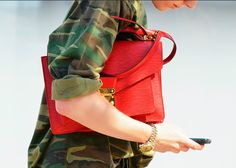 camo and red bag