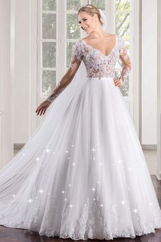 Marvelous Tulle V-neck Neckline See-through Bodice A-line Wedding Dress With Lace Appliques & Beadings