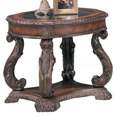 Coaster Furniture - Doyle Traditional Oval End Table with Glass Inlay Top - 3891