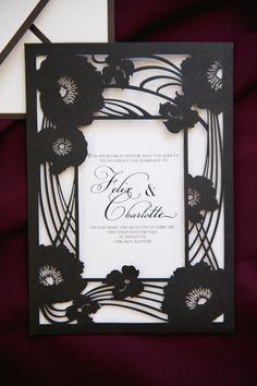 Lovely black and white die cut wedding invitations | Neo-Gothic Wedding via @burnettsboards