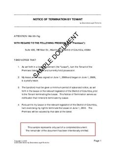 notice of termination by tenant india legal templates documatica legal forms