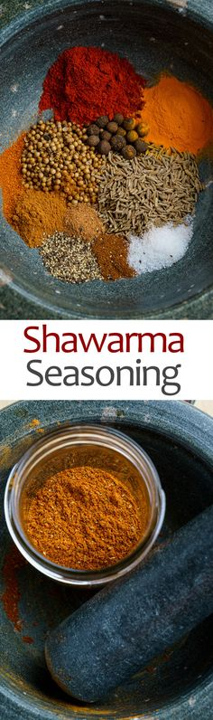 Shawarma Seasoning Recipe : An easy to make blend of warm spices to season your chicken, pork or lamb for shawarma! Homemade Spices, Homemade Seasonings, Seasoning Mixes, Seasoning Recipe, Shawarma Seasoning, Comida India, Dips, Tandoori Masala, Spice Mixes