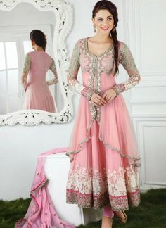 Terrific Pink Net Anarkali Suit