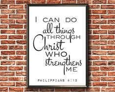 Items similar to Philippians 4 13 Scripture Wall Art, Bible Verses, Philippians 4 13, Digital Form, Frame Display, Frame It, Printable Wall Art, I Can, All Things