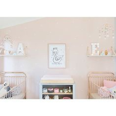 Ellie cots teamed with a dove grey #teeny change table for @sophie_guidolin s twin girl nursery designed by @petitevintageinteriors . Save over $230 on this combo in our #boxingdaysale x by incy_interiors