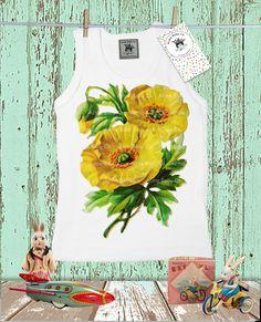 Toddler Gift, Baby Gift, Yellow Poppies, Tank Top, Poppy Flowers, Kids Shirt, Yellow Flowers, Baby Tank, Children's Shirt, Baby Shower